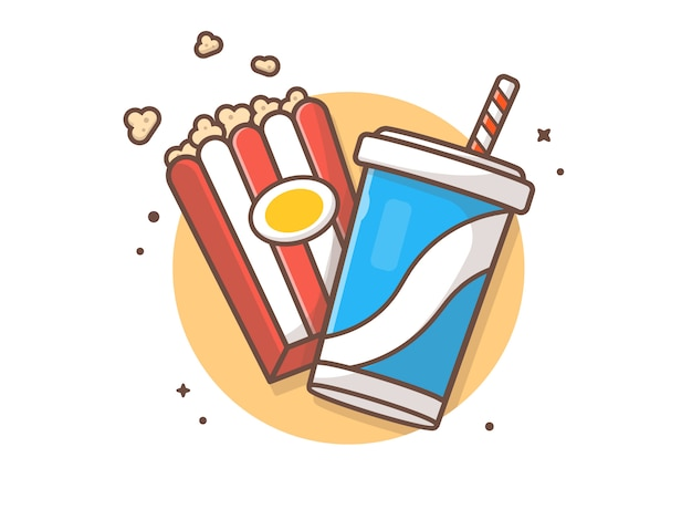Illustrazione dell'icona della soda e del popcorn