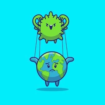 Illustrazione dell'icona di corona virus control world. personaggio dei cartoni animati di corona mascotte. concetto dell'icona del mondo isolato