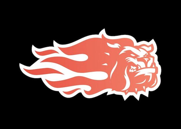 Illustrazione dell'icona di logo del fuoco del bulldog per marcare a caldo, decalcomania dell'involucro dell'automobile, autoadesivo e bande
