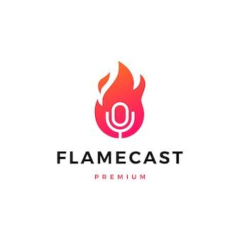 Illustrazione dell'icona di logo del mic del podcast del fuoco della fiamma