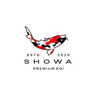 Illustrazione dell'icona di logo del pesce di koi del sanshoku di showa