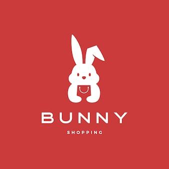 Illustrazione dell'icona di logo del sacchetto della spesa del coniglietto