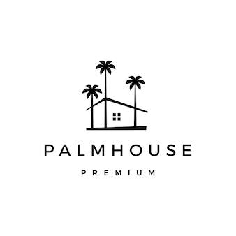 Illustrazione dell'icona di logo della casa dell'albero della casa di palma
