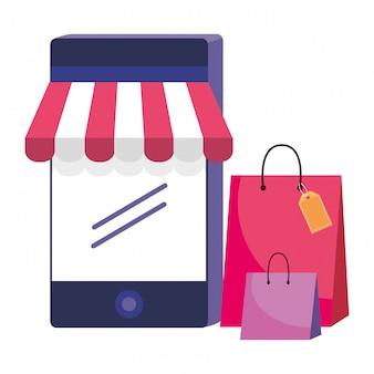 Illustrazione dell'icona di smartphone e negozio