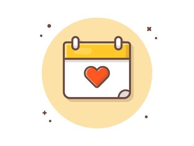 Illustrazione dell'icona di vettore del calendario di amore. concetto dell'icona di amore