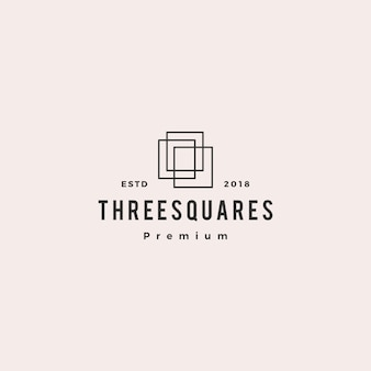 Illustrazione dell'icona di vettore del logo di tre 3 quadrati