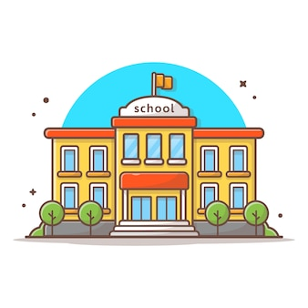Illustrazione dell'icona di vettore dell'edificio scolastico. bianco di concetto dell'icona del punto di riferimento e della costruzione isolato