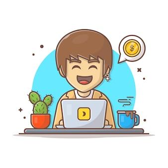 Illustrazione dell'icona di vettore dell'uomo di affari. uomo d'affari e laptop, caffè, denaro. bianco di concetto dell'icona di affari isolato.