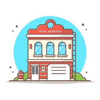Illustrazione dell'icona di vettore della caserma dei pompieri. bianco di concetto dell'icona del punto di riferimento e della costruzione isolato