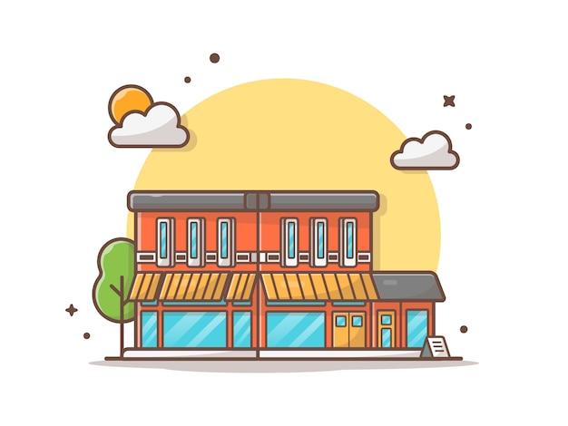 Illustrazione dell'icona di vettore della costruzione del caffè della via
