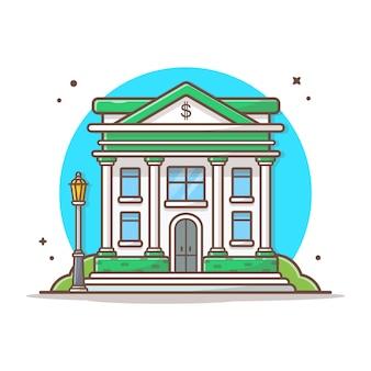 Illustrazione dell'icona di vettore della costruzione di banca. bianco di concetto dell'icona del punto di riferimento e della costruzione isolato