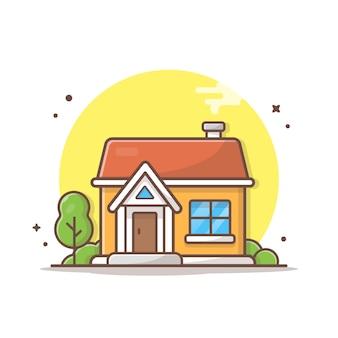 Illustrazione dell'icona di vettore della costruzione di casa. bianco di concetto dell'icona del punto di riferimento e della costruzione isolato