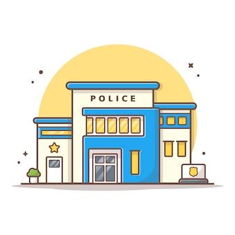 Illustrazione dell'icona di vettore della stazione di polizia. bianco di concetto dell'icona del punto di riferimento e della costruzione isolato