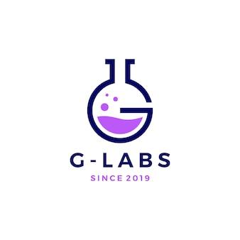Illustrazione dell'icona di vettore di logo dei laboratori di lettera di g