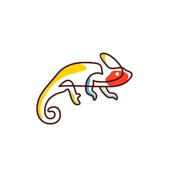 Illustrazione dell'icona di vettore di logo del camaleonte