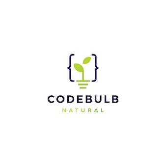 Illustrazione dell'icona di vettore di logo del germoglio della foglia della lampadina di codice
