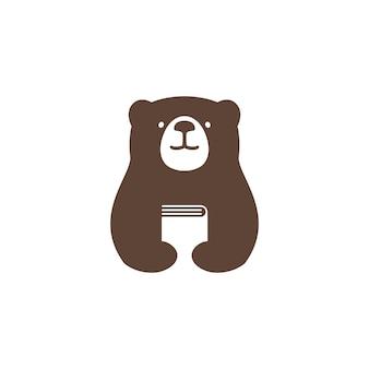 Illustrazione dell'icona di vettore di logo del libro dell'orso