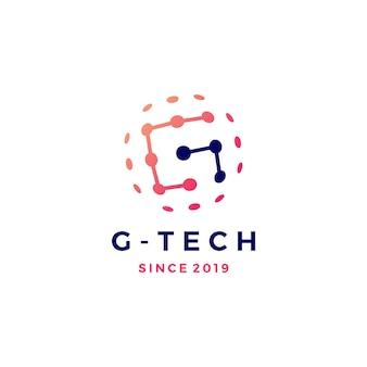 Illustrazione dell'icona di vettore di logo del pianeta della sfera di collegamento di tecnologia di lettera di g