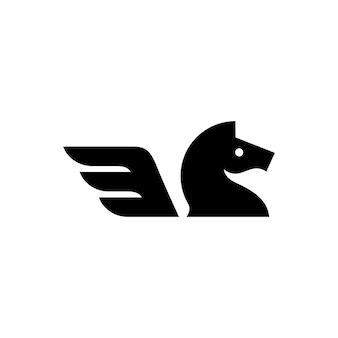 Illustrazione dell'icona di vettore di logo dell'ala di cavallo