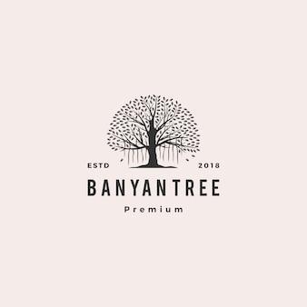 Illustrazione dell'icona di vettore di logo dell'albero di banyan