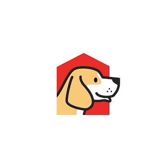 Illustrazione dell'icona di vettore di logo della casa del cane dell'animale domestico