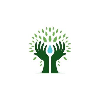 Illustrazione dell'icona di vettore di logo della foglia di goccia di acqua della tenuta dell'albero della mano
