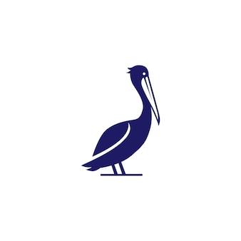 Illustrazione dell'icona di vettore di logo della spiaggia della costa dell'uccello del golfo del pellicano