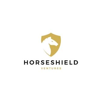 Illustrazione dell'icona di vettore di logo dello scudo del cavallo
