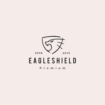 Illustrazione dell'icona di vettore di logo di doodle dello scudo di eagle