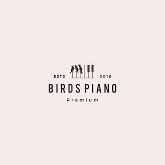 Illustrazione dell'icona di vettore di logo di evento di corso di musica del piano della concorrenza dell'uccello