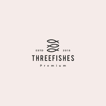 Illustrazione dell'icona di vettore di logo di pesce triplo tre doodle