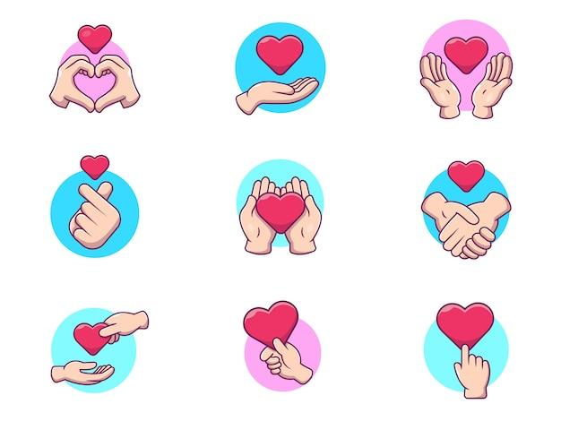 Illustrazione dell'icona di vettore di mano con amore. gesto di simbolo di amore