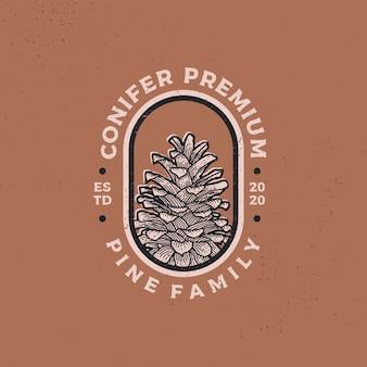 Illustrazione dell'icona logo retrò vintage di conifere