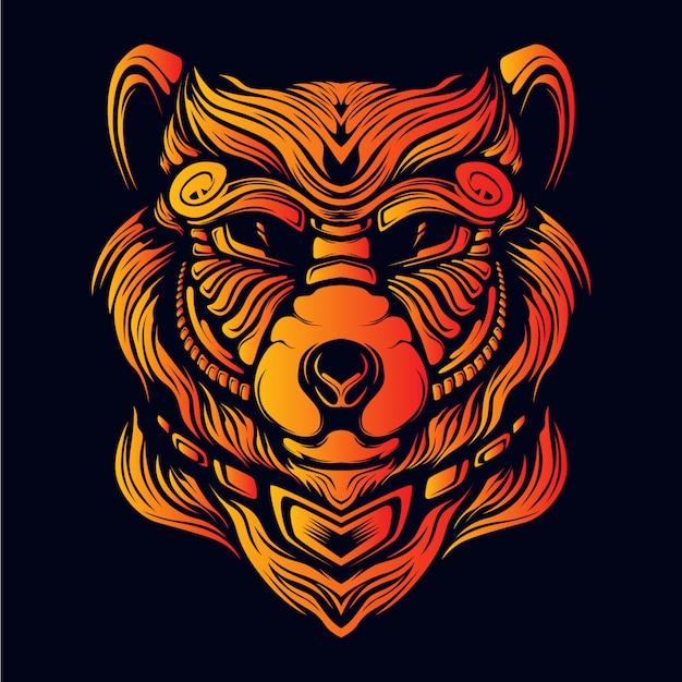 Illustrazione dell'illustrazione della testa dell'orso