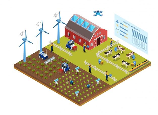 Illustrazione dell'illustrazione efficace di vettore di area dell'azienda agricola.