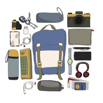 Illustrazione dell'imballaggio di viaggio isolato