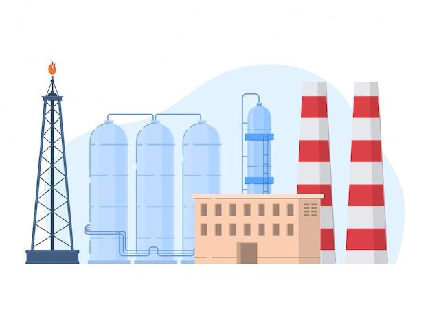 Illustrazione dell'industria petrolifera del petrolio, paesaggio urbano della pianta di fabbrica del fumetto con le costruzioni di elaborazione dell'icona della benzina su bianco