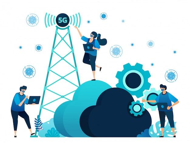 Illustrazione dell'infrastruttura 5g e delle connessioni di rete internet per le attività e il lavoro durante la pandemia di virus covid-19