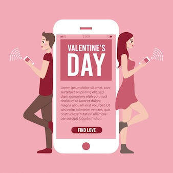 Illustrazione dell'insegna di san valentino con il telefono app e le coppie che chiacchierano online