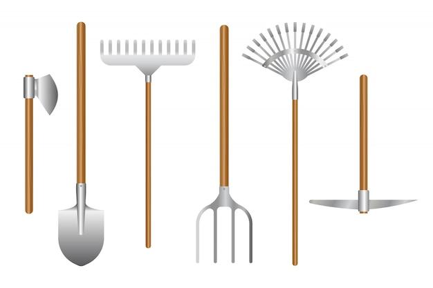 Illustrazione dell'insieme di strumenti di giardinaggio isolata su bianco