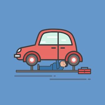 Illustrazione dell'insieme di vettore del garage dell'automobile