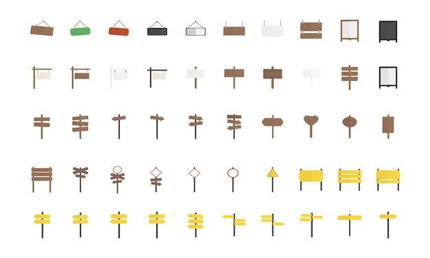 Illustrazione dell'insieme di vettore del segno in bianco