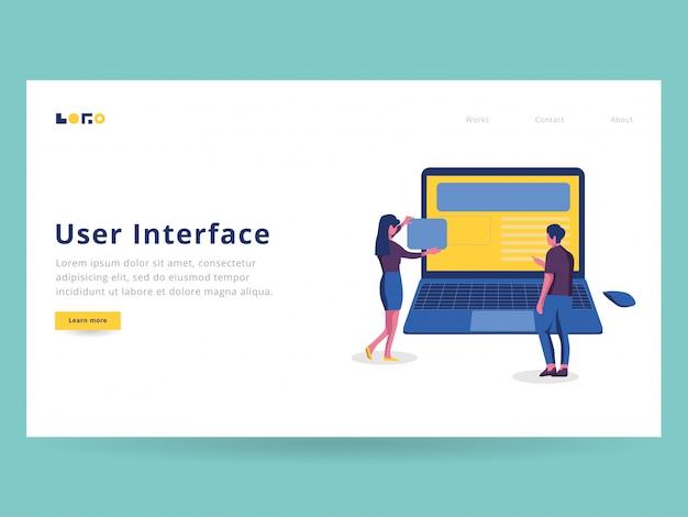 Illustrazione dell'interfaccia utente per landing page