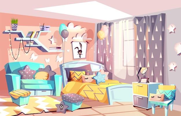 Illustrazione dell'interno della camera o della camera da letto della ragazza del bambino di stile scandinavo accogliente moderno della mobilia.