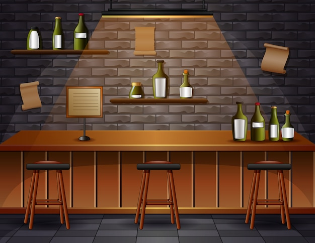 Illustrazione dell'interno dello scrittorio del contatore della caffetteria della birra del caffè della barra