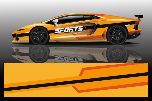 Illustrazione dell'involucro della decalcomania dell'automobile sportiva