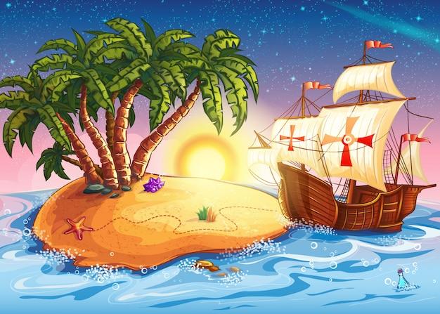 Illustrazione dell'isola con la nave dell'esploratore