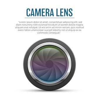 Illustrazione dell'obiettivo della fotocamera su sfondo bianco