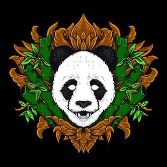 Illustrazione dell'opera d'arte e disegno della maglietta ornamento dorato dell'incisione della testa del panda