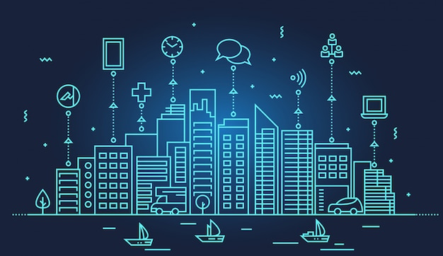 Illustrazione dell'orizzonte di smart city